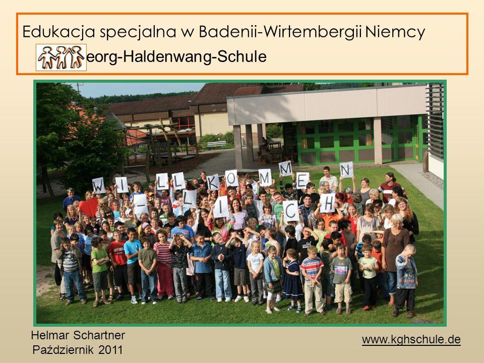 Edukacja specjalna w Badenii-Wirtembergii Niemcy Karl-Georg-Haldenwang-Schule Karl-Georg-Haldenwang-Schule – Podsumowanie Testowanie i rozwijanie różnych typów nauczania dzieci i młodzieży ze specjalnymi potrzebami edukacyjnymi Wzmacanie praw rodziców do wyboru szkoły dla swoich dzieci rozwiązania indywidualne Wspieranie oferty edukacyjnej w szkołach publicznych Tworzenie sieci pomiędzy przedszkolami, szkoły publiczne, partnerów spoza szkól oraz szkołami speclanymi.
