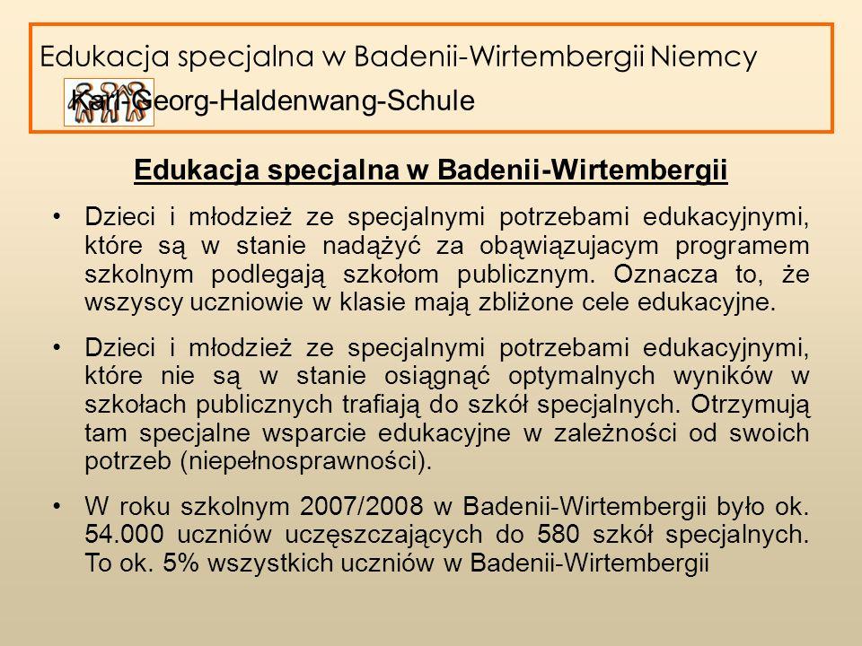 Edukacja specjalna w Badenii-Wirtembergii Konwencja Praw Osób Niepełnosprawnych 2009 równy udział w życiu społecznym osób niepełnosprawnych zmiany w dziedzinie edukacji ukierunkowane na wspólną edukację dzieci niepełnosprawnych i pełnosprawnych.