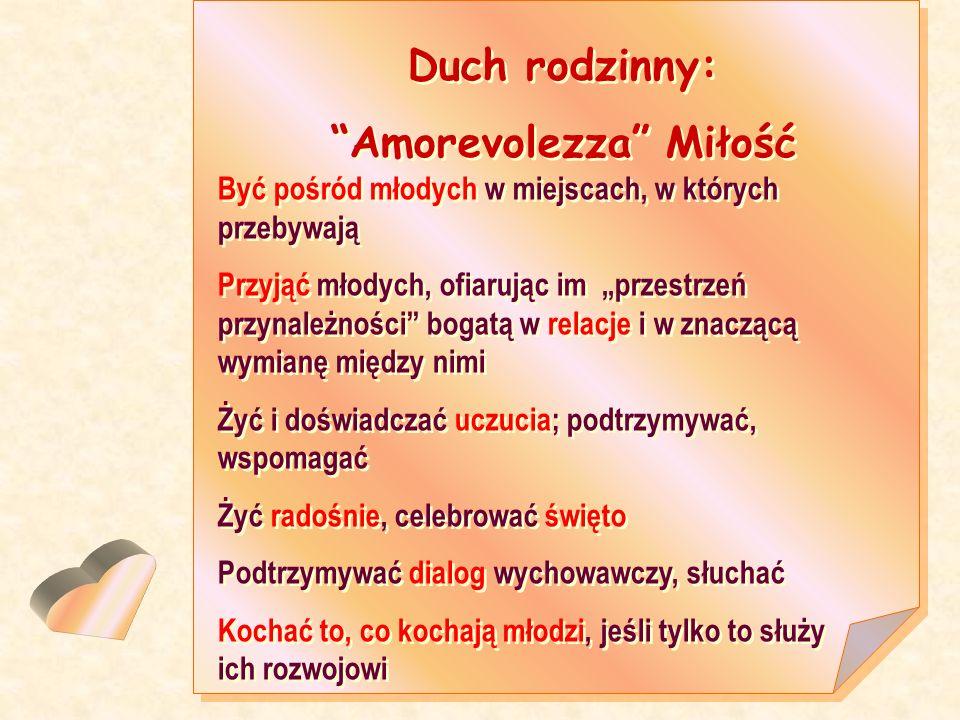 Duch rodzinny: Amorevolezza Miłość Duch rodzinny: Amorevolezza Miłość Być pośród młodych w miejscach, w których przebywają Przyjąć młodych, ofiarując