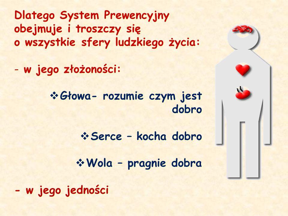 Dlatego System Prewencyjny obejmuje i troszczy się o wszystkie sfery ludzkiego życia: - w jego złożoności: Głowa- rozumie czym jest dobro Serce – koch