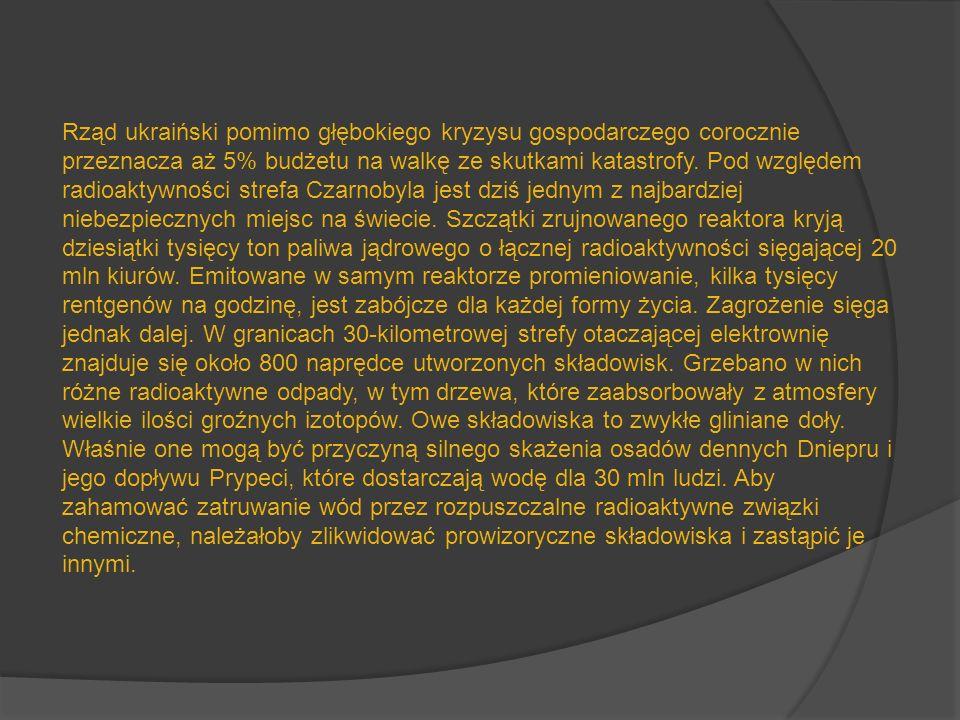 Rząd ukraiński pomimo głębokiego kryzysu gospodarczego corocznie przeznacza aż 5% budżetu na walkę ze skutkami katastrofy. Pod względem radioaktywnośc