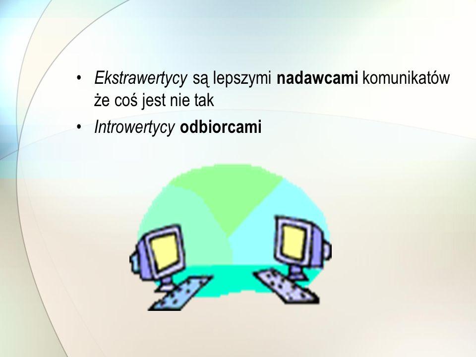 Ekstrawertycy są lepszymi nadawcami komunikatów że coś jest nie tak Introwertycy odbiorcami