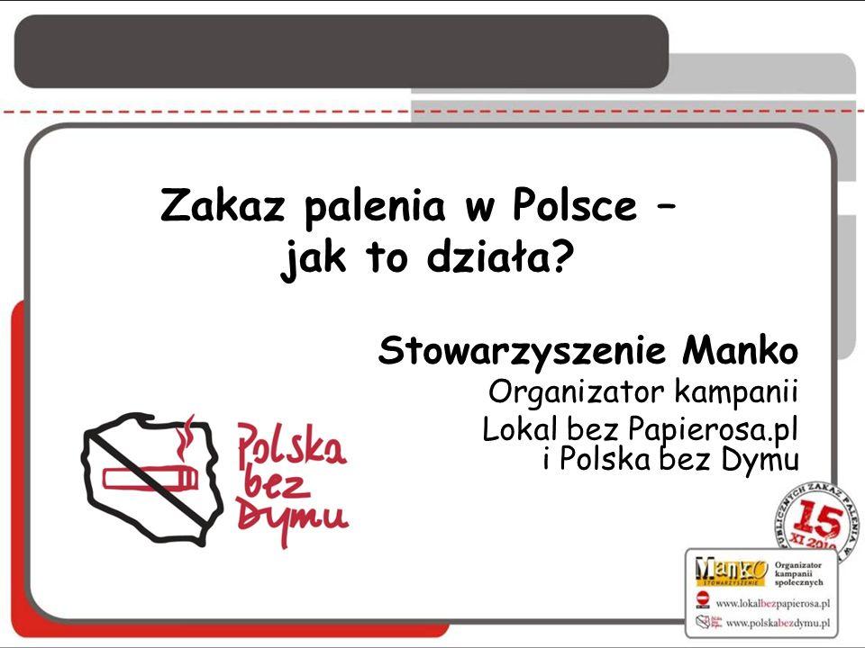Zakaz palenia w Polsce – jak to działa? Stowarzyszenie Manko Organizator kampanii Lokal bez Papierosa.pl i Polska bez Dymu