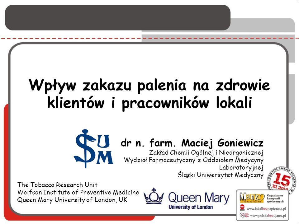 Wpływ zakazu palenia na zdrowie klientów i pracowników lokali dr n. farm. Maciej Goniewicz Zakład Chemii Ogólnej i Nieorganicznej Wydział Farmaceutycz