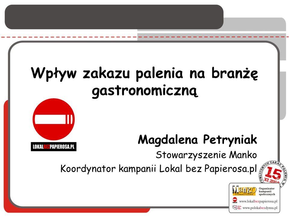 Wpływ zakazu palenia na branżę gastronomiczną Magdalena Petryniak Stowarzyszenie Manko Koordynator kampanii Lokal bez Papierosa.pl