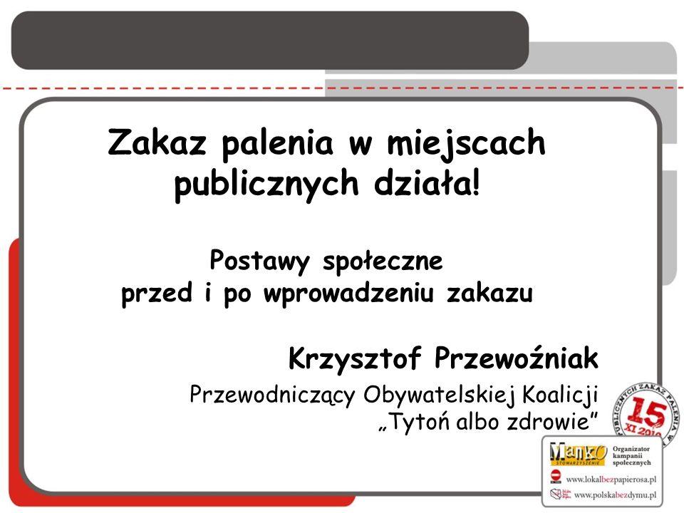 Zakaz palenia w miejscach publicznych działa! Postawy społeczne przed i po wprowadzeniu zakazu Krzysztof Przewoźniak Przewodniczący Obywatelskiej Koal