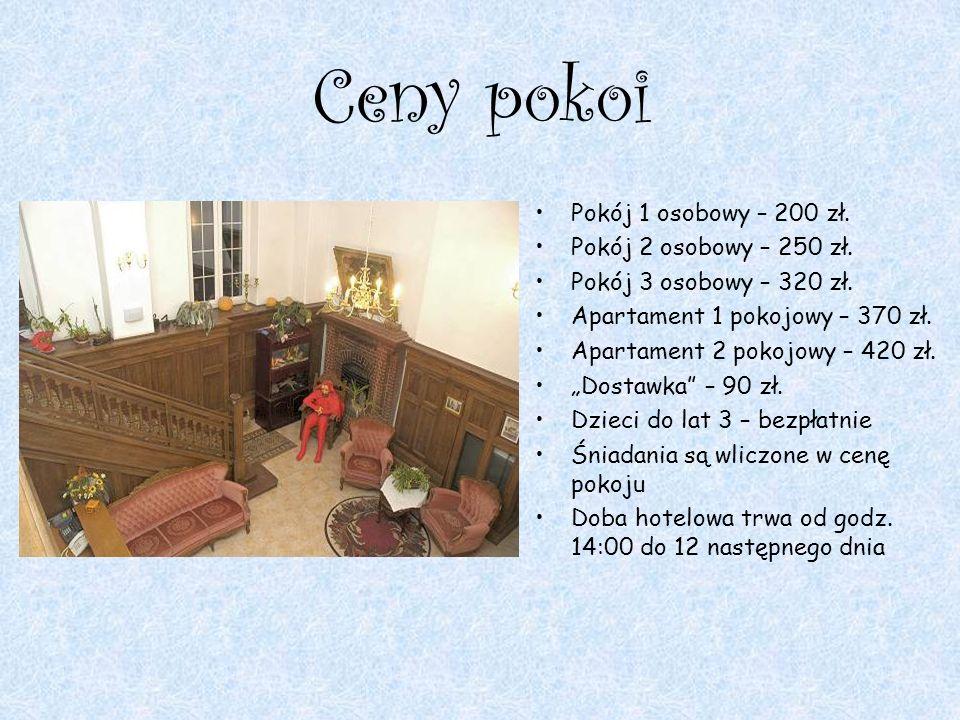 Ceny pokoi Pokój 1 osobowy – 200 zł. Pokój 2 osobowy – 250 zł. Pokój 3 osobowy – 320 zł. Apartament 1 pokojowy – 370 zł. Apartament 2 pokojowy – 420 z