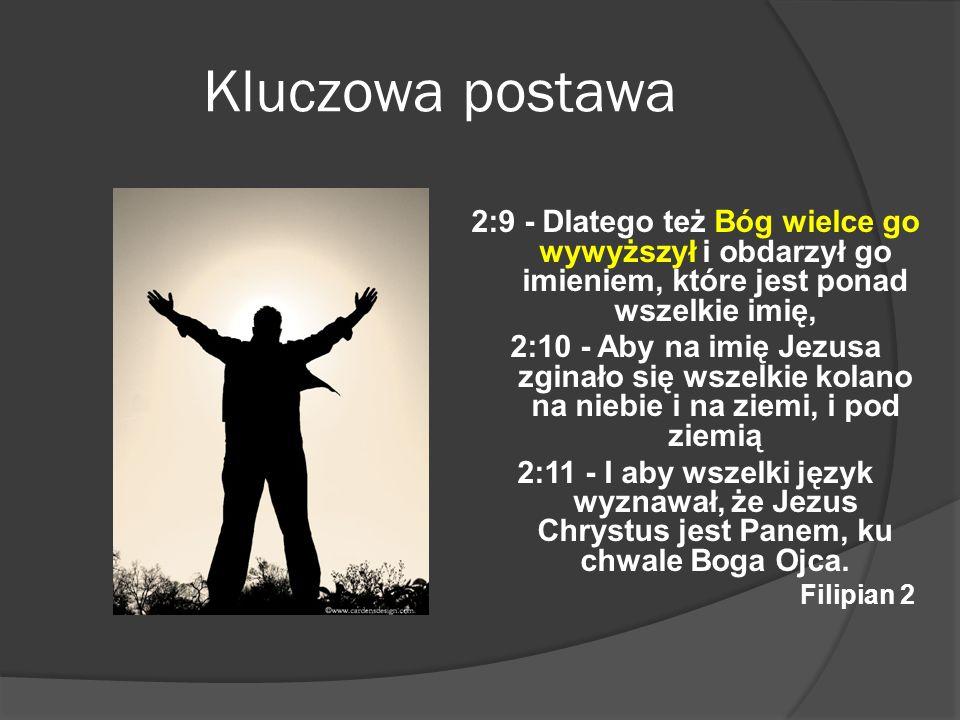 Kluczowa postawa 2:9 - Dlatego też Bóg wielce go wywyższył i obdarzył go imieniem, które jest ponad wszelkie imię, 2:10 - Aby na imię Jezusa zginało s