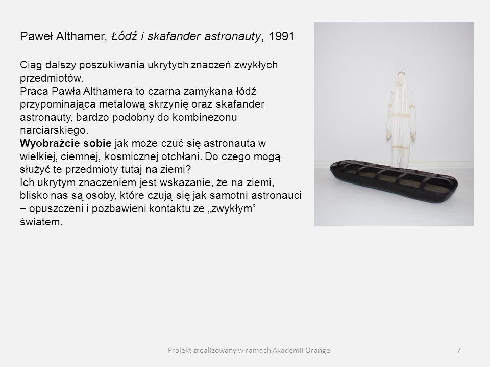 Projekt zrealizowany w ramach Akademii Orange8 Jadwiga Sawicka, Sukienka, 2002 Jak to możliwe, że zwykłe ubranie zawieszone na wieszaku jest dziełem sztuki współczesnej.
