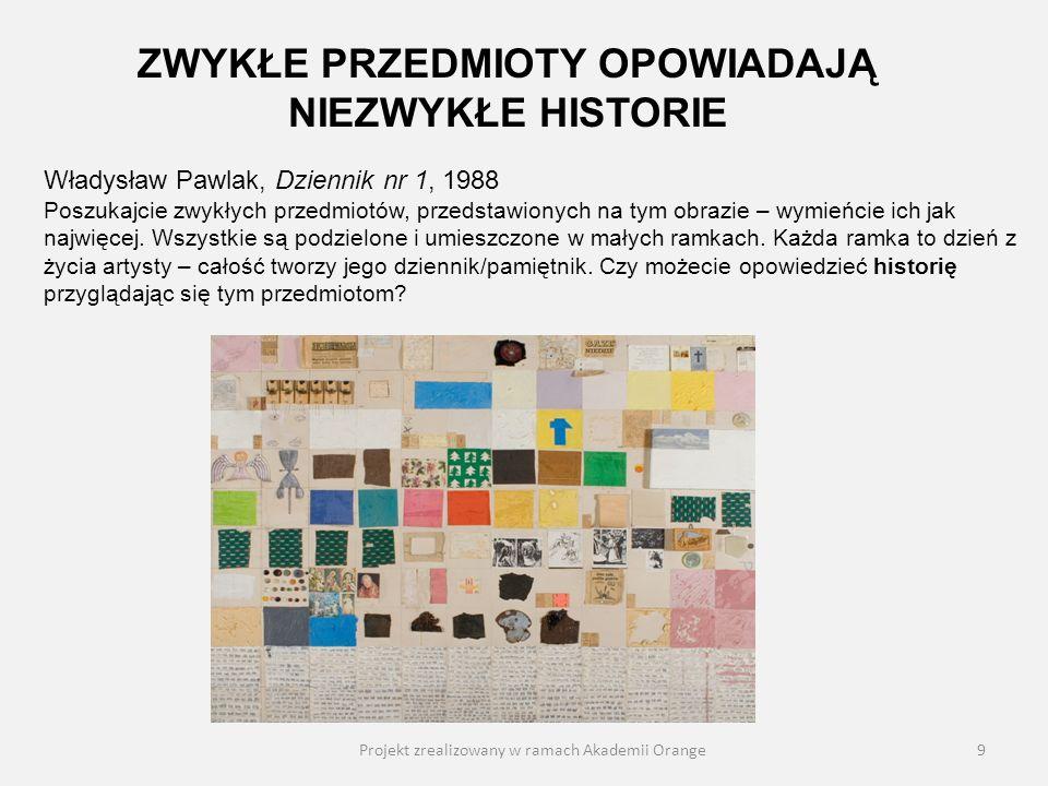 Projekt zrealizowany w ramach Akademii Orange9 Władysław Pawlak, Dziennik nr 1, 1988 Poszukajcie zwykłych przedmiotów, przedstawionych na tym obrazie