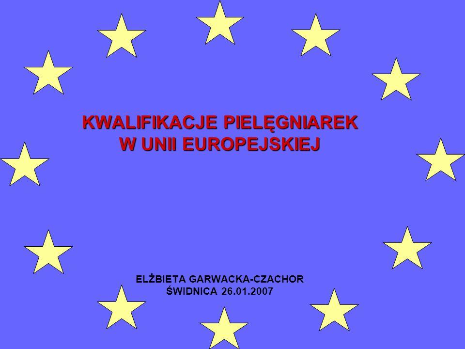 KWALIFIKACJE PIELĘGNIAREK W UNII EUROPEJSKIEJ KWALIFIKACJE PIELĘGNIAREK W UNII EUROPEJSKIEJ ELŻBIETA GARWACKA-CZACHOR ŚWIDNICA 26.01.2007