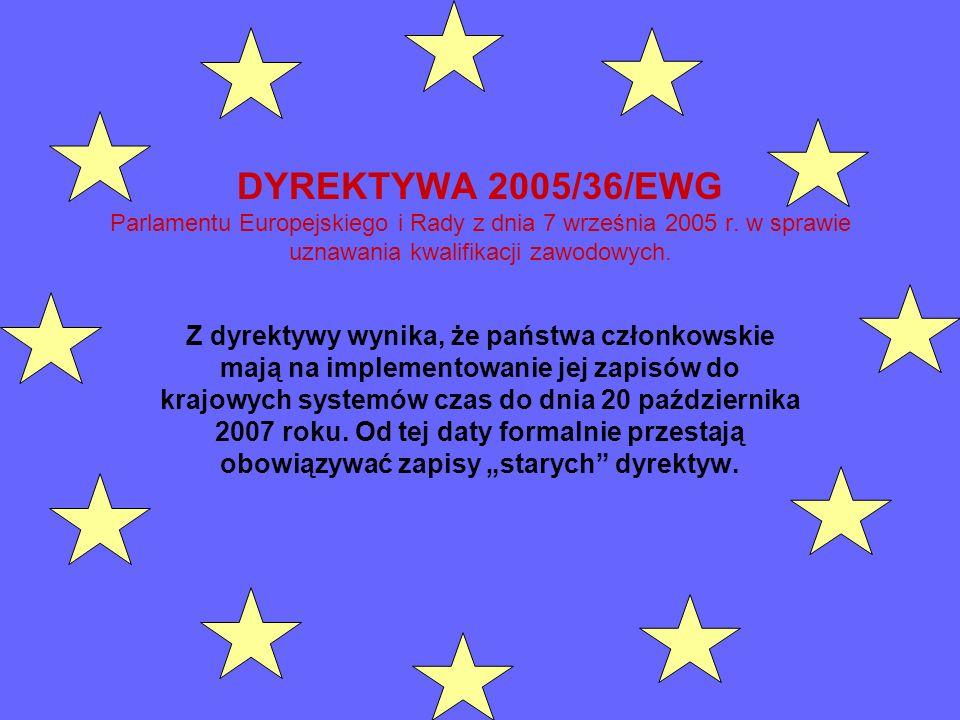 DYREKTYWA 2005/36/EWG Parlamentu Europejskiego i Rady z dnia 7 września 2005 r. w sprawie uznawania kwalifikacji zawodowych. Z dyrektywy wynika, że pa