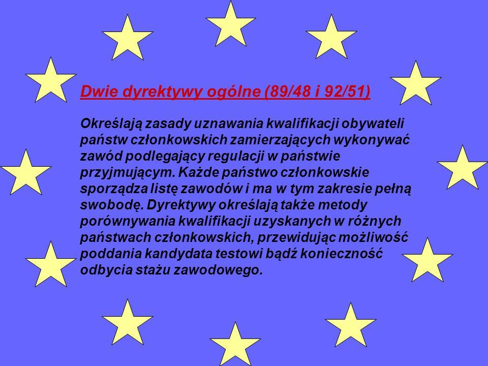 Dwie dyrektywy ogólne (89/48 i 92/51) Określają zasady uznawania kwalifikacji obywateli państw członkowskich zamierzających wykonywać zawód podlegając