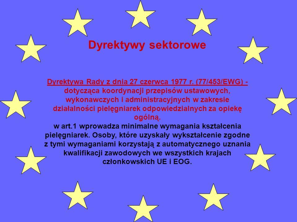 Dyrektywy sektorowe Dyrektywa Rady z dnia 27 czerwca 1977 r. (77/453/EWG) - dotycząca koordynacji przepisów ustawowych, wykonawczych i administracyjny