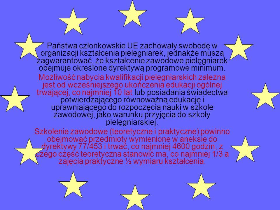 Państwa członkowskie UE zachowały swobodę w organizacji kształcenia pielęgniarek, jednakże muszą zagwarantować, że kształcenie zawodowe pielęgniarek o