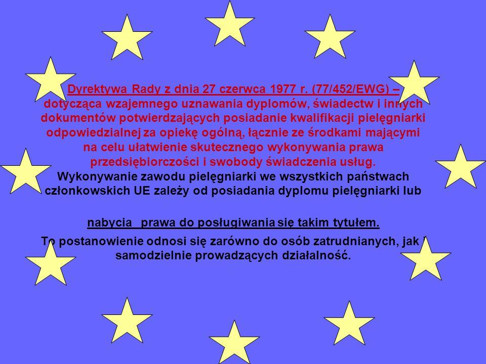 Dyrektywa Rady z dnia 27 czerwca 1977 r. (77/452/EWG) – dotycząca wzajemnego uznawania dyplomów, świadectw i innych dokumentów potwierdzających posiad