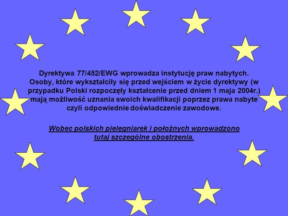 Dyrektywa 77/452/EWG wprowadza instytucję praw nabytych. Osoby, które wykształciły się przed wejściem w życie dyrektywy (w przypadku Polski rozpoczęły