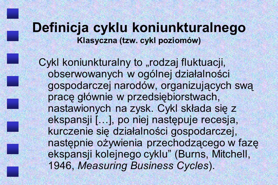 Definicja cyklu koniunkturalnego Cykle wzrostu (growth cycles, deviation cycles) … wahania gospodarcze przejawiają się nie w spadkach absolutnych wielkości ekonomicznych (głównie dochodu narodowego), lecz w zahamowaniach i przyspieszeniach stopy wzrostu gospodarczego.