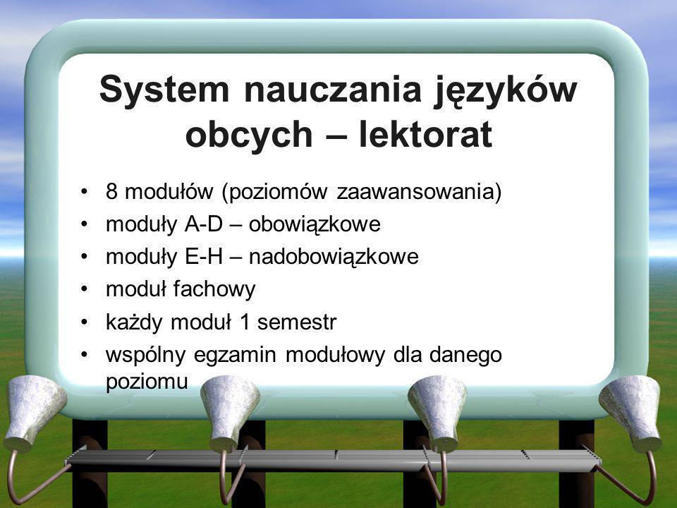System nauczania języków obcych – lektorat 8 modułów (poziomów zaawansowania) moduły A-D – obowiązkowe moduły E-H – nadobowiązkowe moduł fachowy każdy