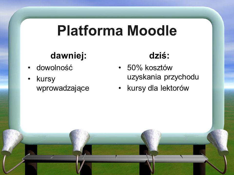 Platforma Moodle dawniej: dowolność kursy wprowadzające dziś: 50% kosztów uzyskania przychodu kursy dla lektorów