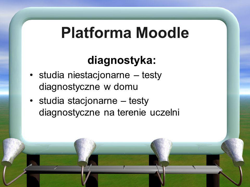 Platforma Moodle diagnostyka: studia niestacjonarne – testy diagnostyczne w domu studia stacjonarne – testy diagnostyczne na terenie uczelni