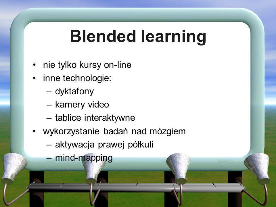 Blended learning nie tylko kursy on-line inne technologie: –dyktafony –kamery video –tablice interaktywne wykorzystanie badań nad mózgiem –aktywacja p