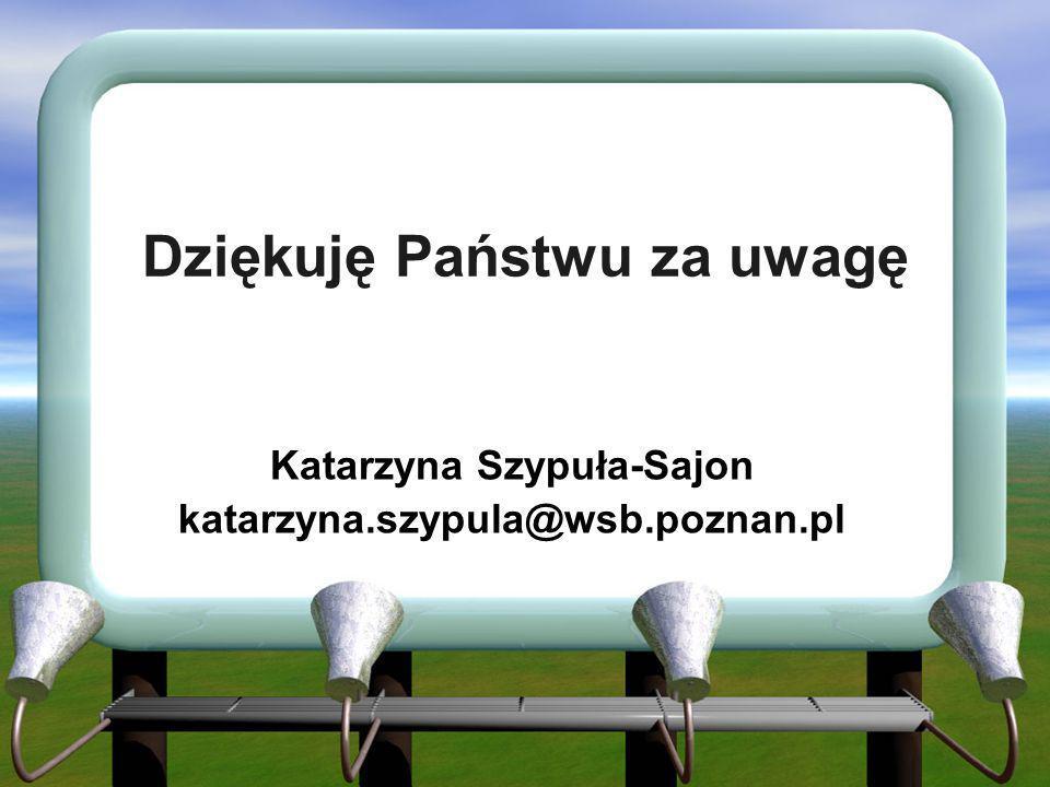 Dziękuję Państwu za uwagę Katarzyna Szypuła-Sajon katarzyna.szypula@wsb.poznan.pl