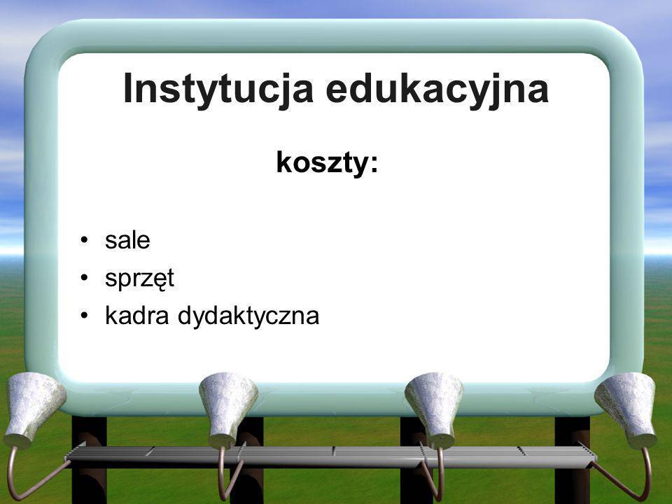 Instytucja edukacyjna koszty: sale sprzęt kadra dydaktyczna