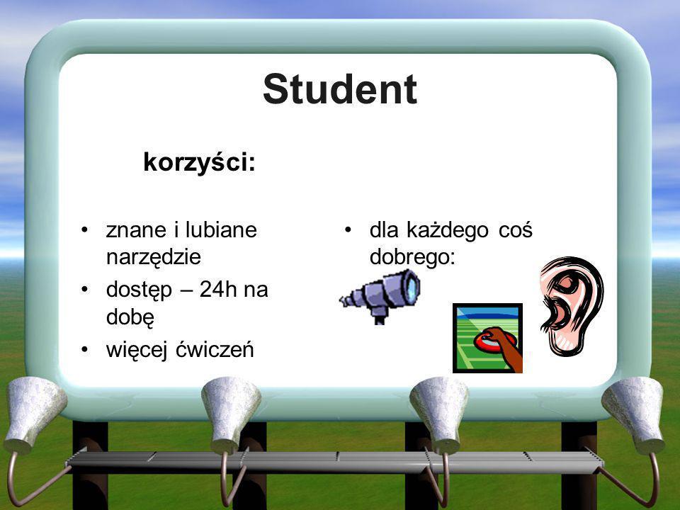 Student korzyści: znane i lubiane narzędzie dostęp – 24h na dobę więcej ćwiczeń dla każdego coś dobrego: