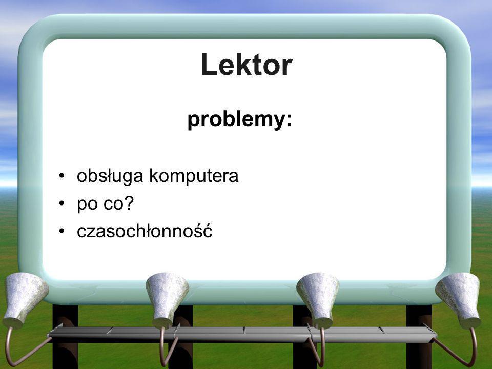 Lektor problemy: obsługa komputera po co? czasochłonność