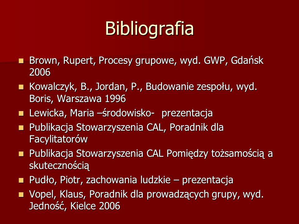 Bibliografia Brown, Rupert, Procesy grupowe, wyd. GWP, Gdańsk 2006 Brown, Rupert, Procesy grupowe, wyd. GWP, Gdańsk 2006 Kowalczyk, B., Jordan, P., Bu