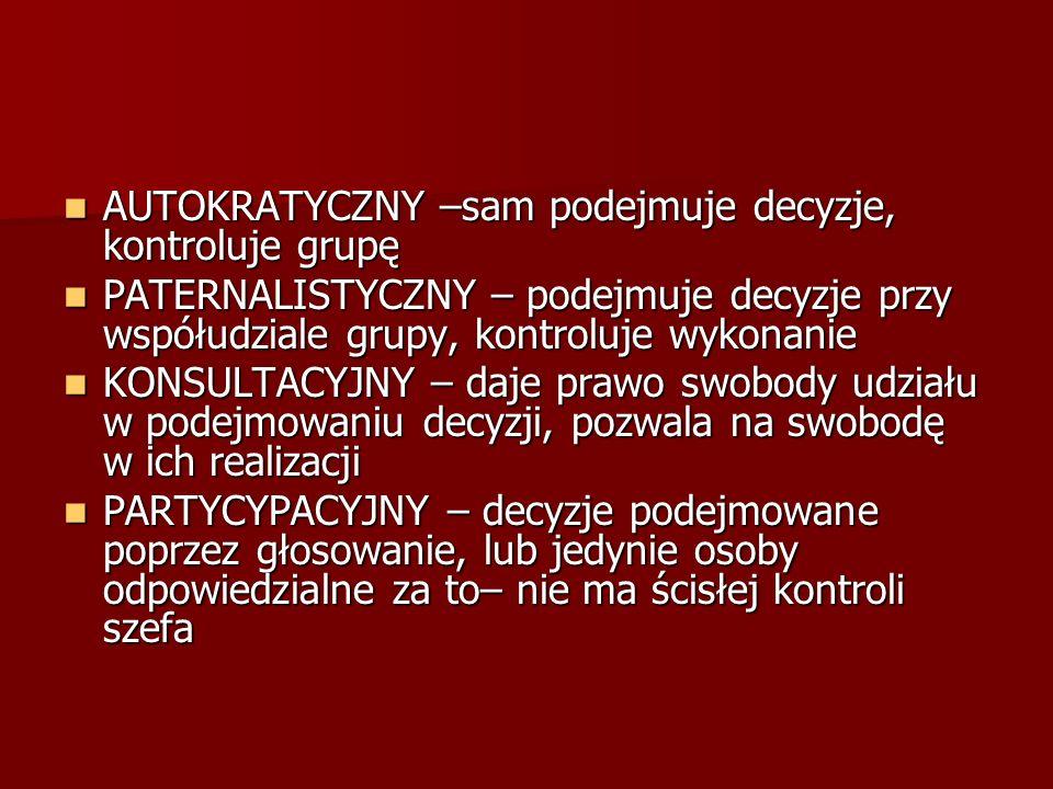 AUTOKRATYCZNY –sam podejmuje decyzje, kontroluje grupę AUTOKRATYCZNY –sam podejmuje decyzje, kontroluje grupę PATERNALISTYCZNY – podejmuje decyzje prz