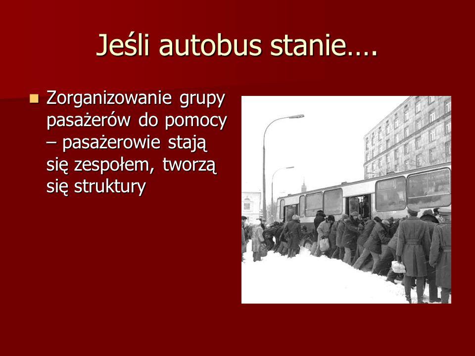 Jeśli autobus stanie…. Zorganizowanie grupy pasażerów do pomocy – pasażerowie stają się zespołem, tworzą się struktury Zorganizowanie grupy pasażerów