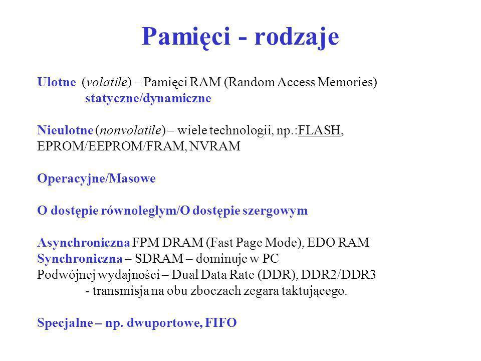 Pamięci - rodzaje Ulotne (volatile) – Pamięci RAM (Random Access Memories) statyczne/dynamiczne Nieulotne (nonvolatile) – wiele technologii, np.:FLASH
