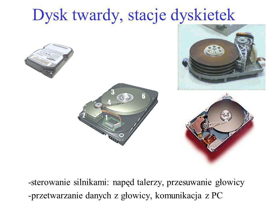 Dysk twardy, stacje dyskietek -sterowanie silnikami: napęd talerzy, przesuwanie głowicy -przetwarzanie danych z głowicy, komunikacja z PC