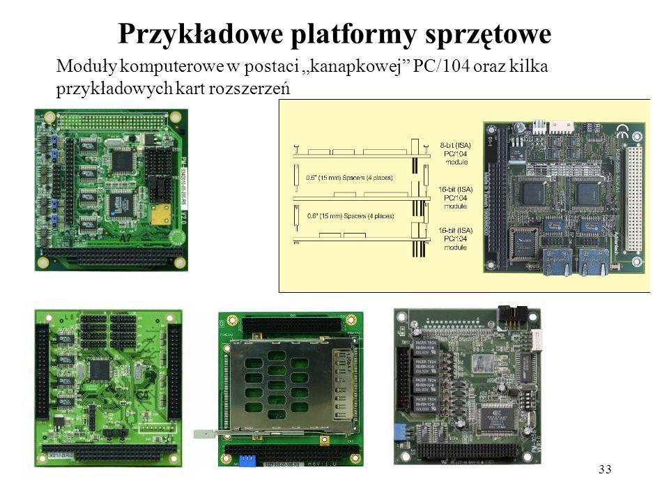 33 Przykładowe platformy sprzętowe Moduły komputerowe w postaci kanapkowej PC/104 oraz kilka przykładowych kart rozszerzeń
