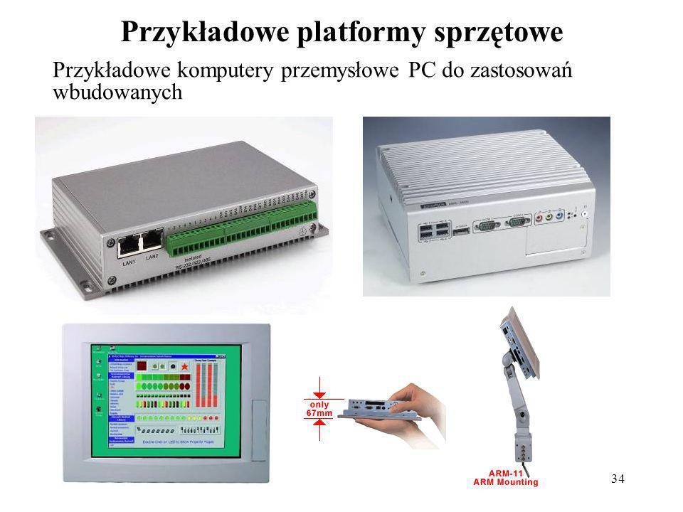 34 Przykładowe platformy sprzętowe Przykładowe komputery przemysłowe PC do zastosowań wbudowanych