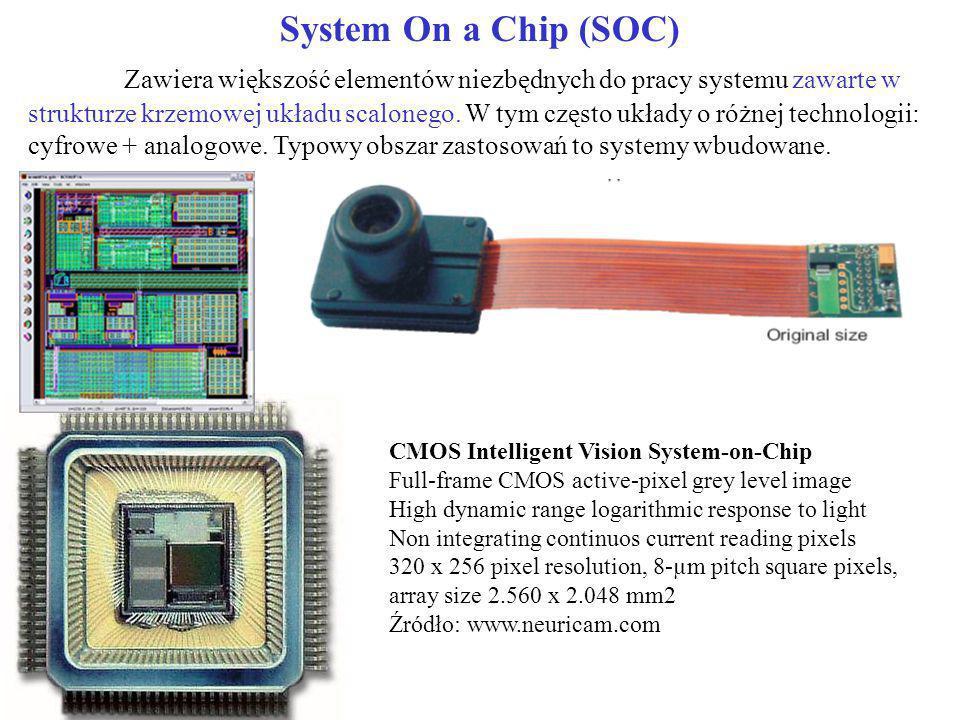 System On a Chip (SOC) Zawiera większość elementów niezbędnych do pracy systemu zawarte w strukturze krzemowej układu scalonego. W tym często układy o