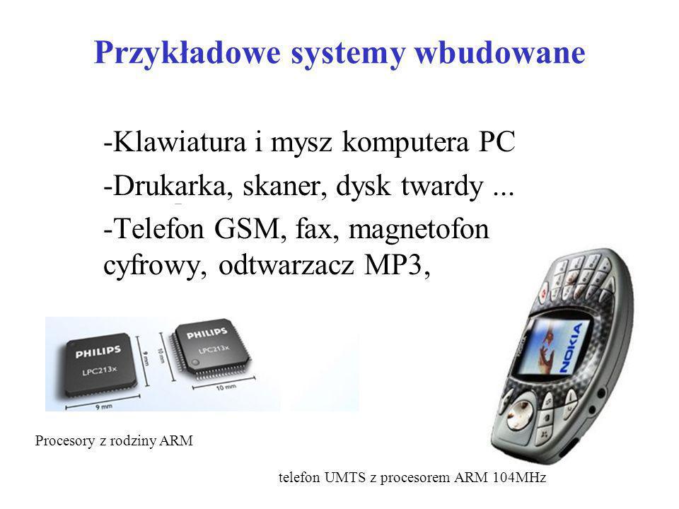 Przykładowe systemy wbudowane -Klawiatura i mysz komputera PC -Drukarka, skaner, dysk twardy... -Telefon GSM, fax, magnetofon cyfrowy, odtwarzacz MP3,