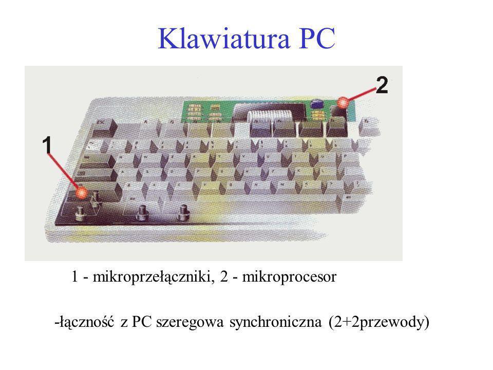 Klawiatura PC -łączność z PC szeregowa synchroniczna (2+2przewody) 1 - mikroprzełączniki, 2 - mikroprocesor