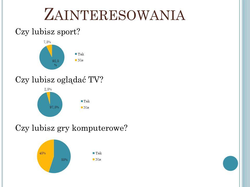 Z AINTERESOWANIA Czy lubisz sport? Czy lubisz oglądać TV? Czy lubisz gry komputerowe?