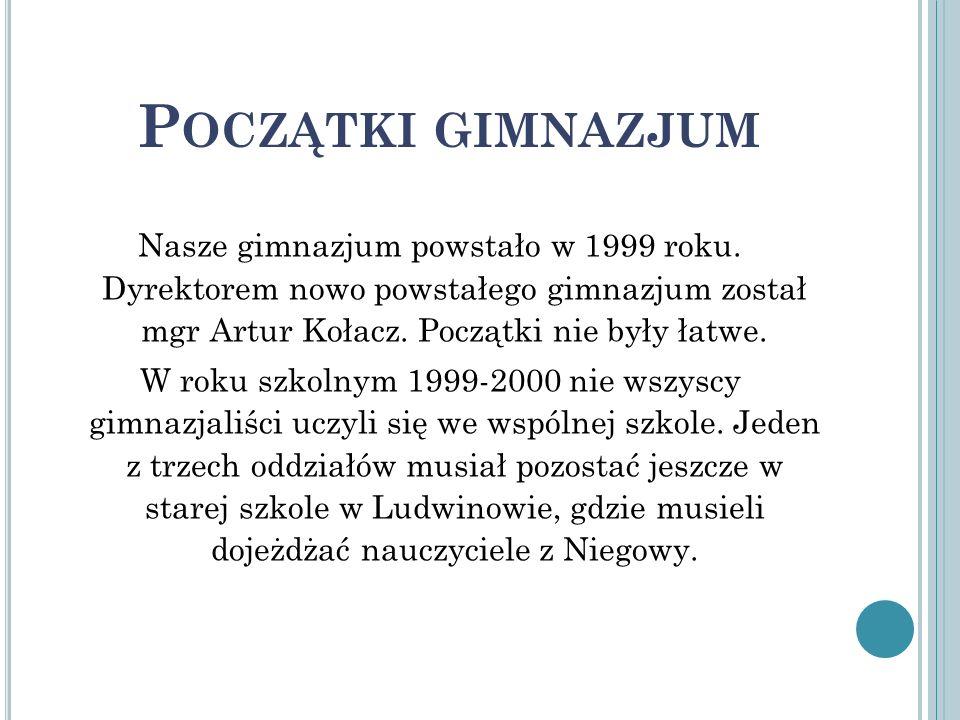 Nasze gimnazjum powstało w 1999 roku. Dyrektorem nowo powstałego gimnazjum został mgr Artur Kołacz. Początki nie były łatwe. W roku szkolnym 1999-2000
