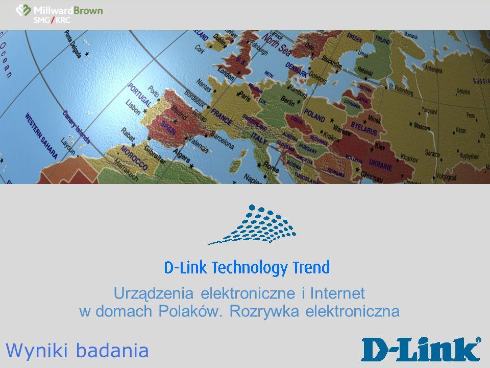 D-Link Technology Trend Cel i metodologia badawcza Cele badania: Zbadanie wyposażenia gospodarstw domowych w Polsce w sprzęt komputerowy i elektroniczny, dostępności Internetu oraz popularności gier komputerowych Porównanie zmian w jakie zaszły w polskich gospodarstwach domowych w ciągu minionego roku