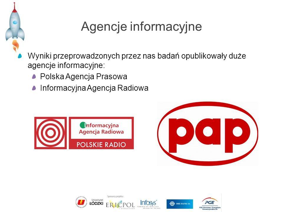 Agencje informacyjne Wyniki przeprowadzonych przez nas badań opublikowały duże agencje informacyjne: Polska Agencja Prasowa Informacyjna Agencja Radiowa
