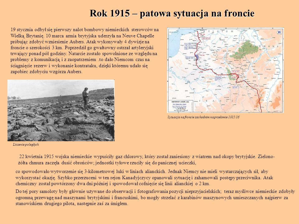 Rok 1915 – patowa sytuacja na froncie Sytuacja na froncie zachodnim na przełomie 1915/16 19 stycznia odbył się pierwszy nalot bombowy niemieckich ster