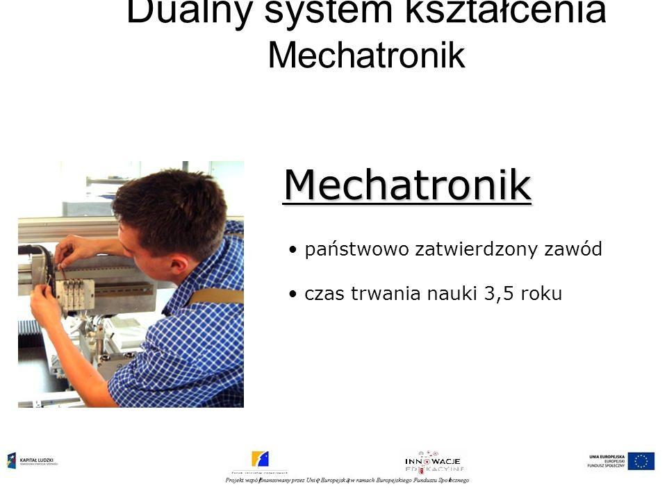 Dualny system kształcenia Mechatronik państwowo zatwierdzony zawód czas trwania nauki 3,5 roku Mechatronik