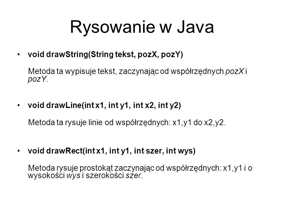 Rysowanie w Java void drawString(String tekst, pozX, pozY) Metoda ta wypisuje tekst, zaczynając od współrzędnych pozX i pozY. void drawLine(int x1, in