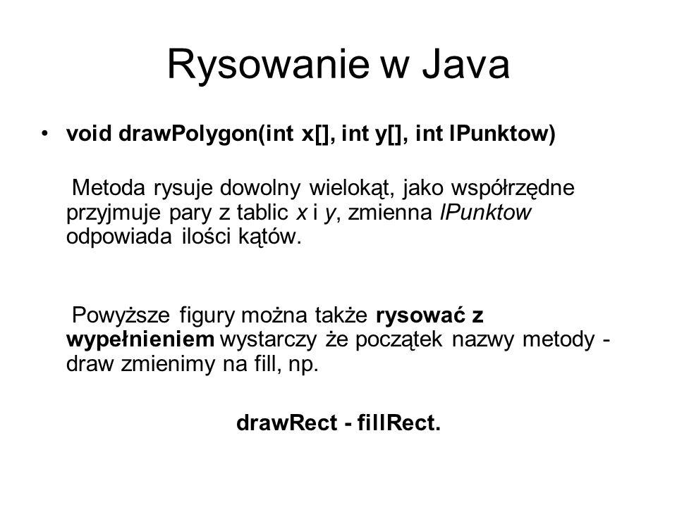 Rysowanie w Java void drawPolygon(int x[], int y[], int lPunktow) Metoda rysuje dowolny wielokąt, jako współrzędne przyjmuje pary z tablic x i y, zmie