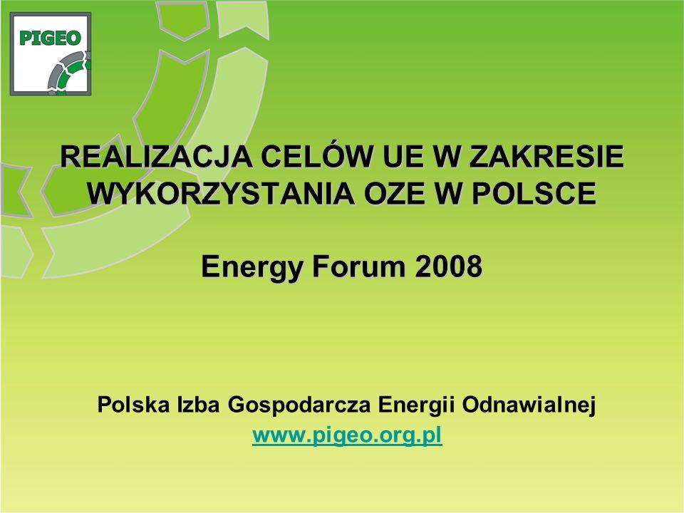 REALIZACJA CELÓW UE W ZAKRESIE WYKORZYSTANIA OZE W POLSCE Energy Forum 2008 Polska Izba Gospodarcza Energii Odnawialnej www.pigeo.org.pl