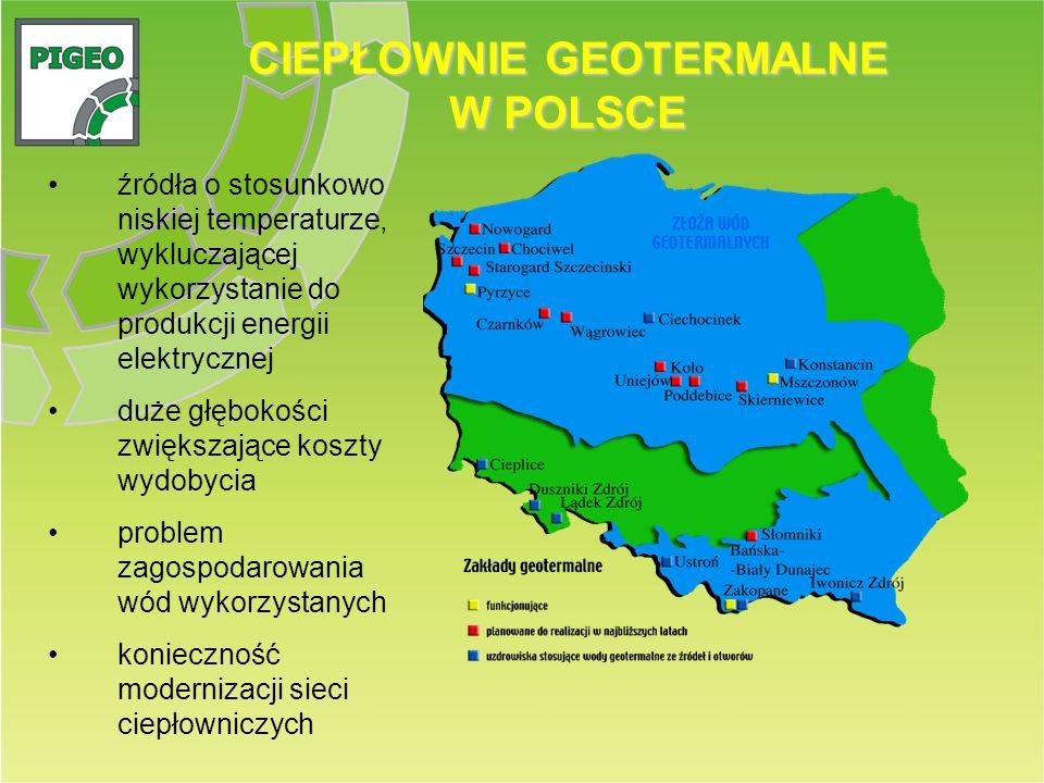 CIEPŁOWNIE GEOTERMALNE W POLSCE źródła o stosunkowo niskiej temperaturze, wykluczającej wykorzystanie do produkcji energii elektrycznej duże głębokośc